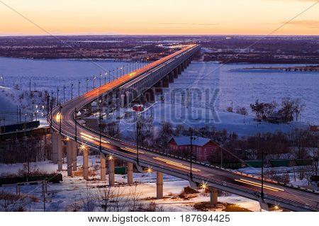 Bridge over Amur river in Khabarovsk Russia in winter