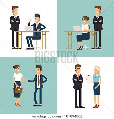 Cool flat design corporate business team people standing and sitting behind desk. Office workers, front and rear view. Men and women in sitting and standing poses