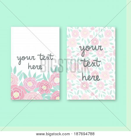 Two cute invitation templates. Vector hand drawn cards