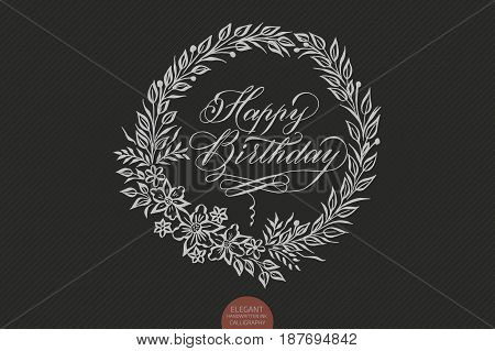 Happy birthday card with floral background artwork. Elegant ornate floral background. Floral background and elegant flower elements. Design template.