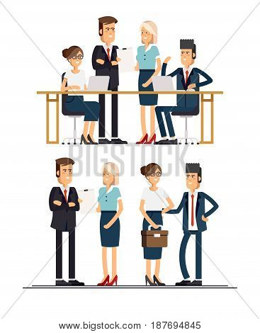 Set of business team. A group of people dressed in strict suit standing and sitting of the table with laptop and smiling. Vector illustration in a flat style