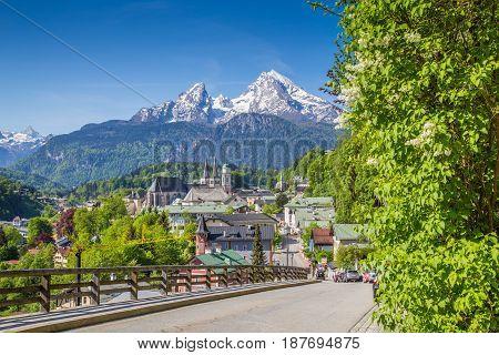 Historic Town Of Berchtesgaden With Watzmann Mountain In Spring, Berchtesgadener Land, Upper Bavaria