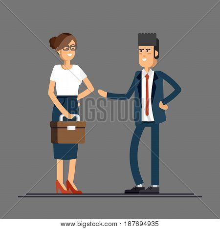 Lovely couple of businessmen smiling isolated. Businessman and businesswoman characters standing. Female and male friendly office workers couple