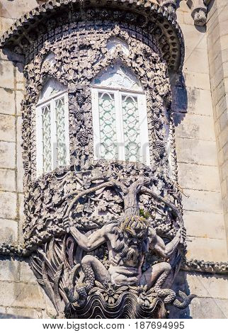 A mythical statue on an entrance in sintra portugal