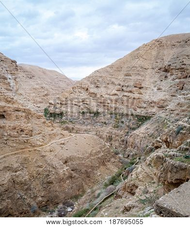 The Wadi Qelt or Nahal Prat mountain area in the north of the Judean Desert Israel