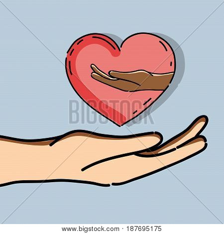 hand with heart and other hand inside to freedom celebration, vector illustration