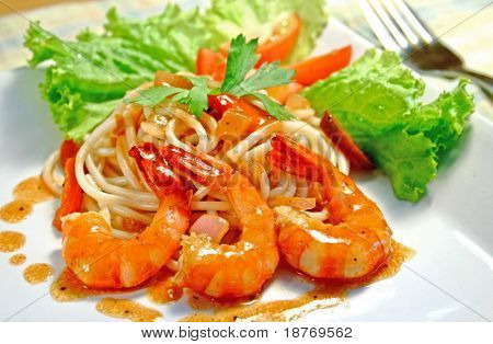 delicious plate of pasta with prawns