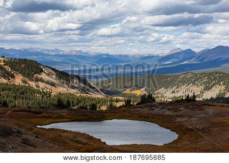 Autumn Scenery in the Rocky Mountains of Colorado. The summit of Cottonwood Pass