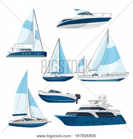 Set of boats with sails, one and double decked yachts with motors. Vector illustration of sea transport. Collection of luxury motorboats in realistic style