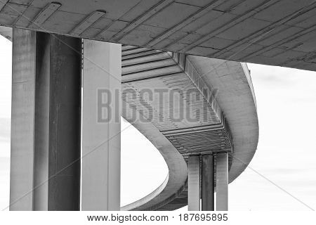 Abstract view of a support structure of a concrete flyover highway