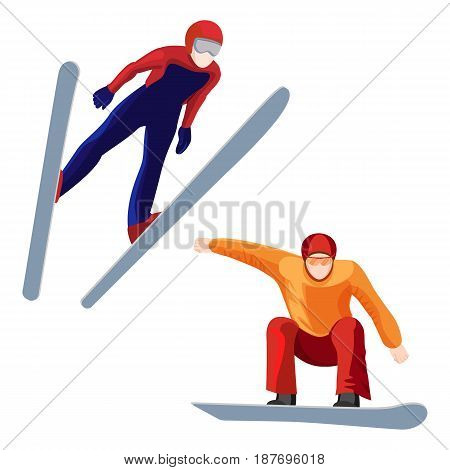 Athlete on skis and professional snowboarder vector illustration isolated on white background. Two sportsmen during winter sport activities