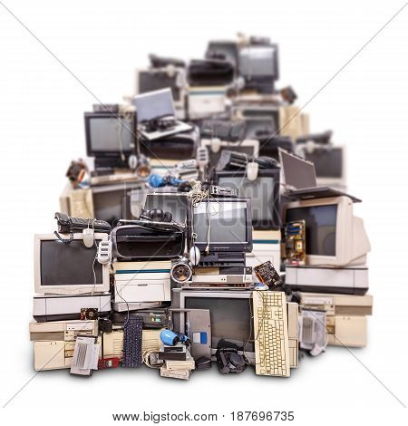 Electronic waste ready for recycling isolated on white background