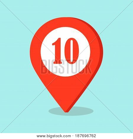Map pointer icon with number ten sign in red and white colors isolated on blue background. Symbol of location in cartography concept. Vector illustration of gps direction button in flat style design