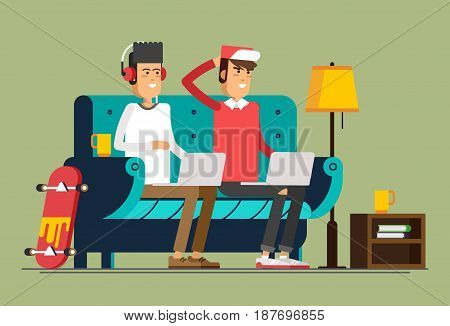 Young adult man and working at home vector concept illustration. Freelancer character working from home with laptop sitting in cozy armchair with a cup of hot tea or coffee. Home office. Remote work