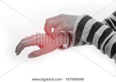 Close up of a human hand scratching palm on isolated white background.