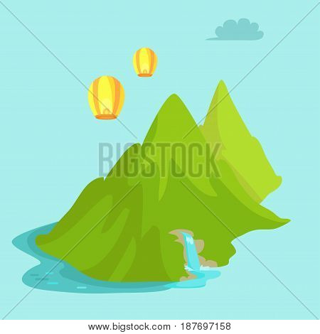 Maokong mountain in Taiwan and chinese lights flying in the sky. Scenery landscape vector illustration in flat style design Waterfall in green mountains near China in flat design cartoon style