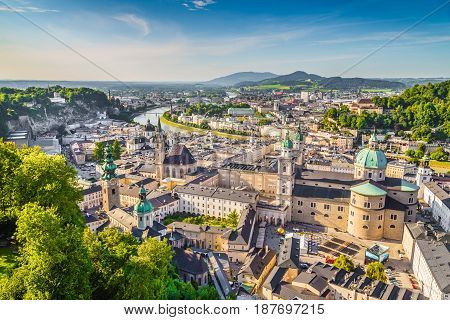 Aerial View Of The Historic City Of Salzburg, Austria
