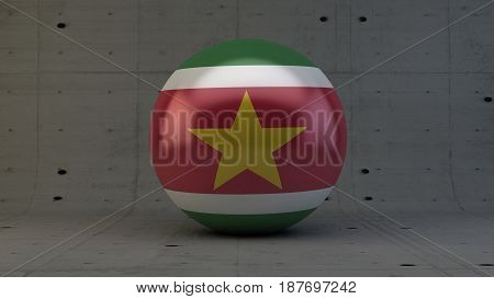 suriname flag sphere icon isolated in concrete room 3d render