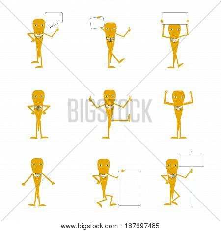 Set of carrot emotion icons on white stock vector illustration