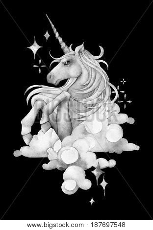 Cute watercolor unicorn in the sky. Hand drawn fantasy art in gray colors
