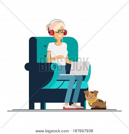 Young adult woman working at home vector concept illustration. Freelancer character working from home with laptop sitting in cozy armchair with a cup of hot tea or coffee. Home office. Remote work