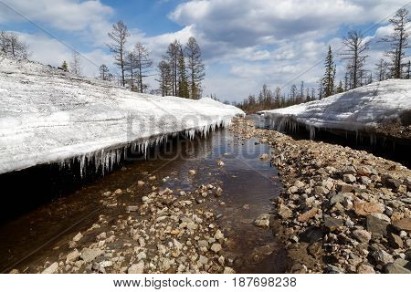 Canyon washed by a stream in a glacier in the spring in South Yakutia Russia