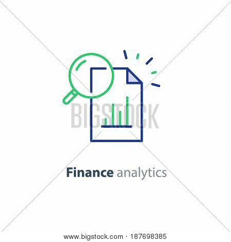 Data analytics, information research, investment report paper, marketing study, audition services, vector icon