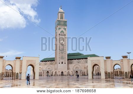 The Hassan II Mosque in Casablanca is the largest mosque in Morocco