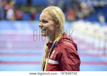 Rio de Janeiro Brazil - august 13 2016: Pernille Blume (DEN) gold metal during medal ceremony after Women's 50 metre freestyle of the Rio 2016 Olympics