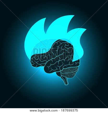 Abstract illustration of burning of the brain - the intense mental activity, discovery, inspiration, ideas, design concept for invention and innovation creativity