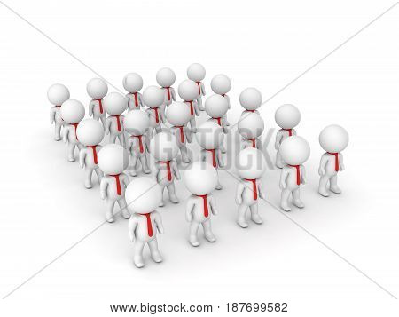 3D illustration of many small people wearing a red tie. Image depicting a group of people.