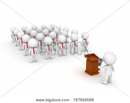 3D illustration depicting a large public speaking event