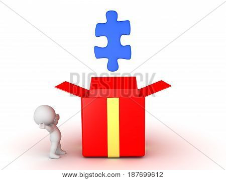3D Character looking at puzzle piece emerging out of gift box. Image could convey the concept of an epiphany or revelation.