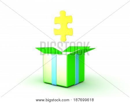 3D illustration of golden puzzle piece merging out of gift box. Image could convey the concept of an epiphany or revelation.