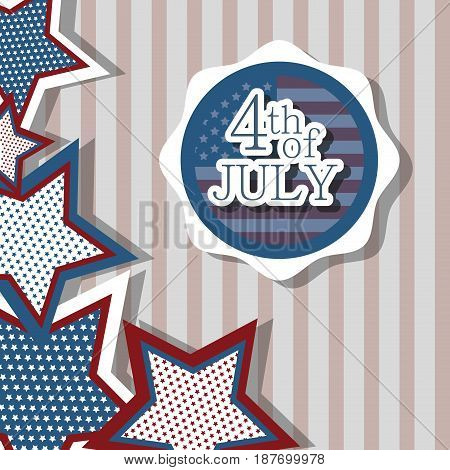 independence day with emblem and stars design, vector illustration
