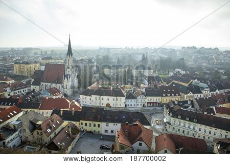 The view of historic Melk old town (Austria).