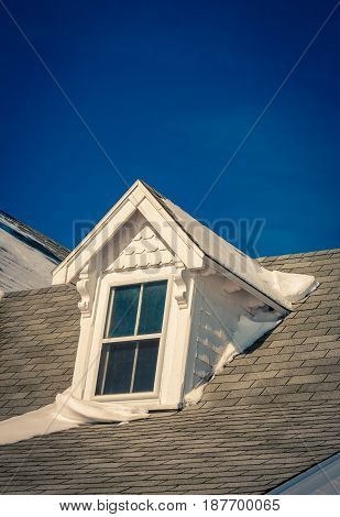 Dormer on a house in Canada  at wintertime