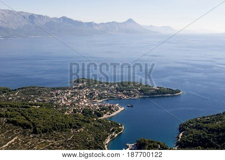 Aerial view of village Sumartin bay and peninsula on Brac island in Croatia