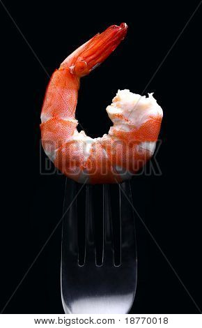 cooked shrimp on a fork