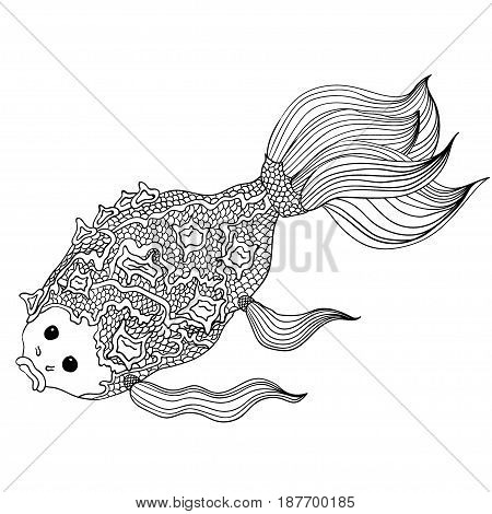 Hand drawn doodle fish. Lines editable. Black and white