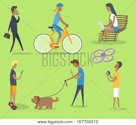 People spending free time in park vector poster with green background. Man talking over phone, girl riding bike, young person sitting on bench, boys walking with dog and playing with quadrocopter