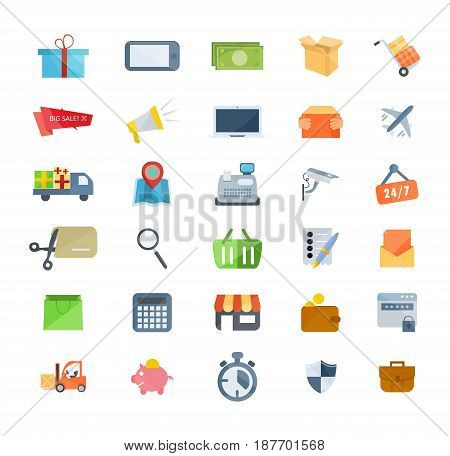 A set of icons of marketing, shopping and e-commerce, payment methods, technical support and delivery, data protection and security. Modern vector illustration isolated on white background.