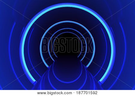 Abstract glossy interior with glow blue lines and dark in end corridor. 3d rendering.