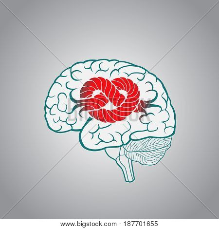 Brain with convolutions associated to the knot, the concept of unsolvable problems challenges