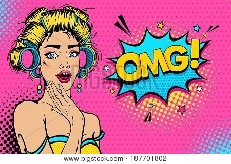 Wow female face. Sexy young blonde woman housewife with open mouth and hair curlers bright makeup and OMG! speech bubble. Vector colorful background in pop art retro comic style. Party invitation poster.