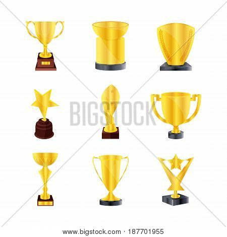 Set of different kind bronze and gold bowls. Winners cup. Golden trophy cup isolated on white background