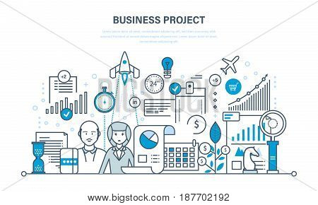 Business project, control and time management, marketing, statistics, analysis, data control. Illustration thin line design of vector doodles, infographics elements.
