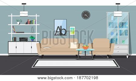 Modern interior. Sofa, armchair and coffee table. Cabinets and shelves with utensils. Decorative elements.