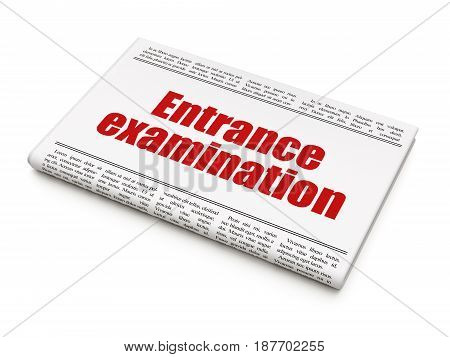 Learning concept: newspaper headline Entrance Examination on White background, 3D rendering