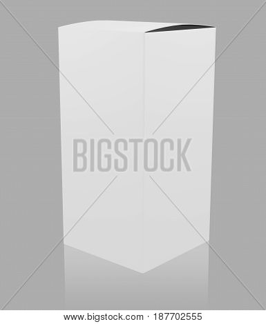 Blank white tall box over gray background. 3D rendering.